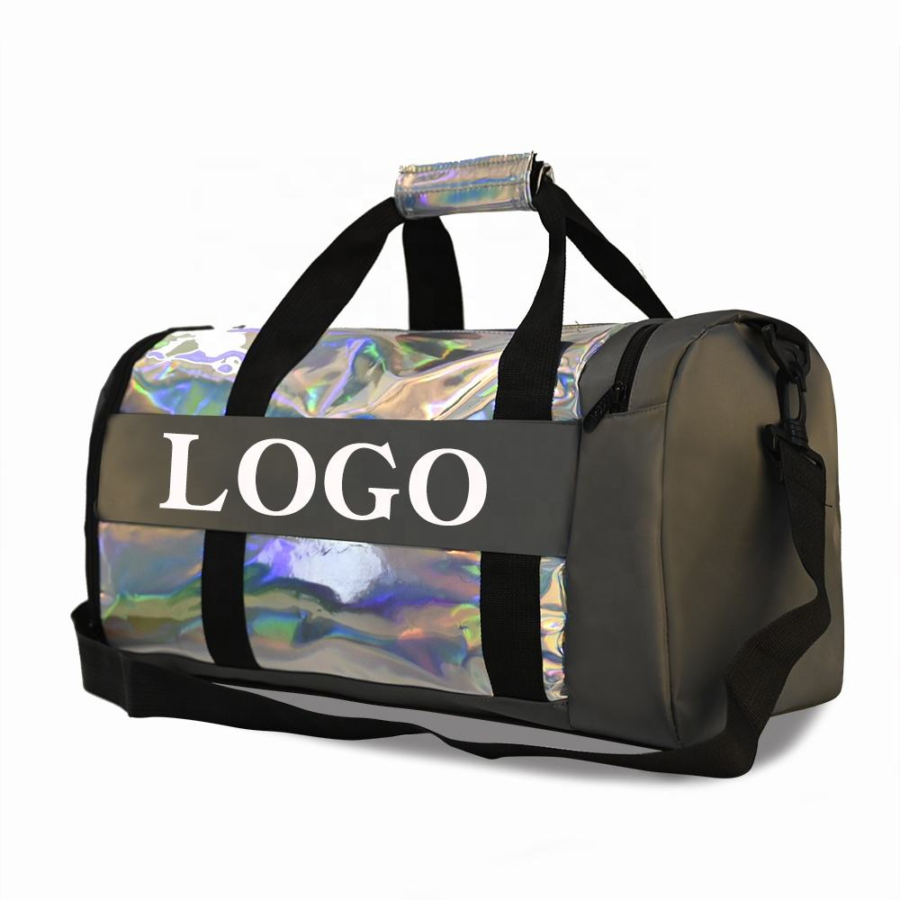 Hot Selling Weekender night bag Custom shine holographic laser Sports duffle travel bags waterproof training Gym Bag