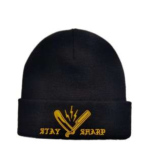 Custom Black Toques With Embroidery Logo Knitted Beanie