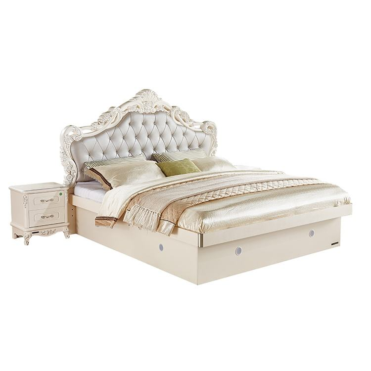 Hot design bedroom furniture factory price light luxury European style wood carved bed set designs
