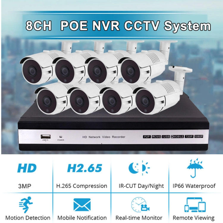 8 Channel POE 3MP .5MP H.265 Surveillance Vandal Proof Camera CCTV DVR Kit 8ch 5MP IP dome indoor camera nvr kit