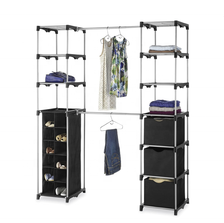Amazon hot sell bedroom furniture large capacity clothes storage Deluxe Double Rod Adjustable Closet Organization System