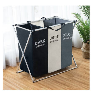 Bathroom Bedroom Home 3 Sections Aluminum Frame Foldable Durable Dirty Clothes Laundry Hamper Basket laundry bag