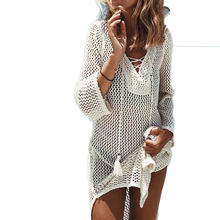 online shop supplier crochet beach cover Hollow Out V Neck Perspective tassel