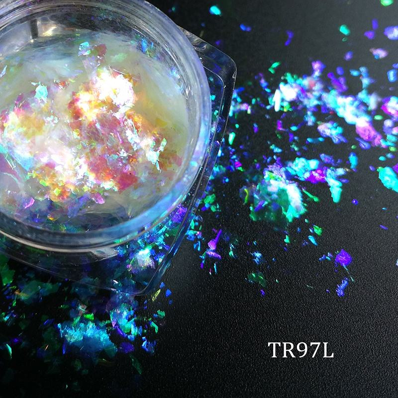 Transparent Chameleon flakes, Iridescent color changing pigment for Nail, lip gloss