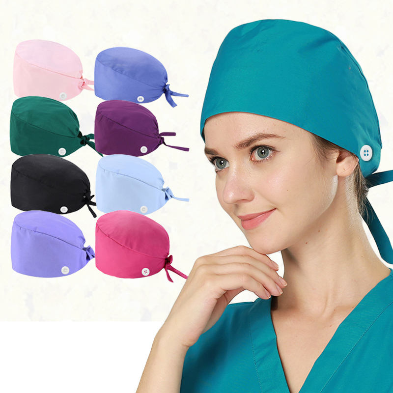 Unisex Solid Color Hats Adjustable Beauty Nurse Doctor Working Caps With Button