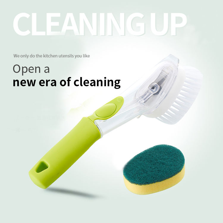 Eco Friendly Soap Dispensing Sponge Kitchen Dish Wash Cleaning Brush With Removable Head