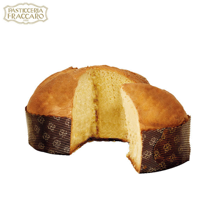 Naturally leavened oven baked fugassa imbriaga pasticceria with candied orange peels in hand wrapped line