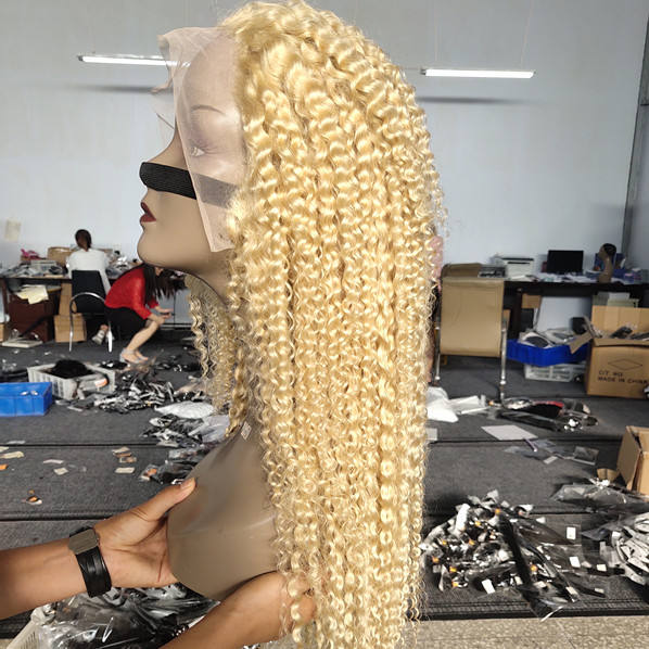 30 Inch Raw Virgin Deep Wave 613 Blonde Hd Lace Front Wig 13x4 Curly Transparent Lace Frontal Human Hair Wig 613 Full Lace Wig