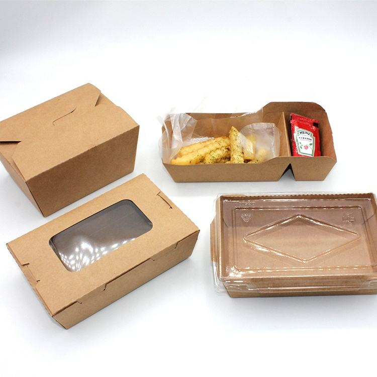 China Wholesale Disposable Take Away Kraft Paper Lunch Box