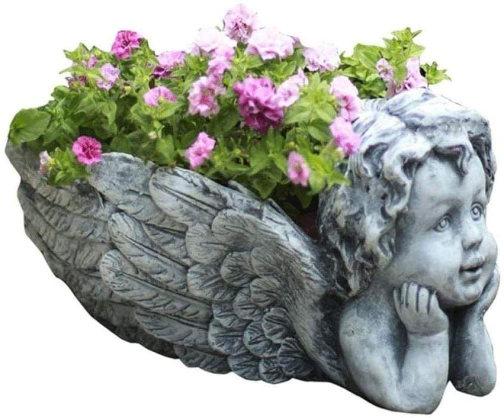 Free sample European Retro Old Cute Angel Flower Pot Widely Misapplication Decoration Flower Pot Large Caliber Vintage Flower Po