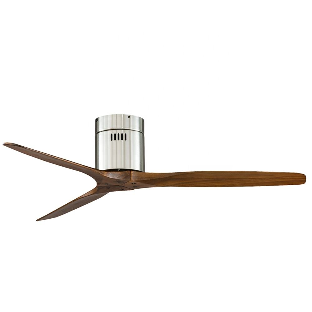 52 Inch Brushed Nickel Low Profile Power AC DC 3 Blade Wood Flush Mount Ceiling Fan Without Light