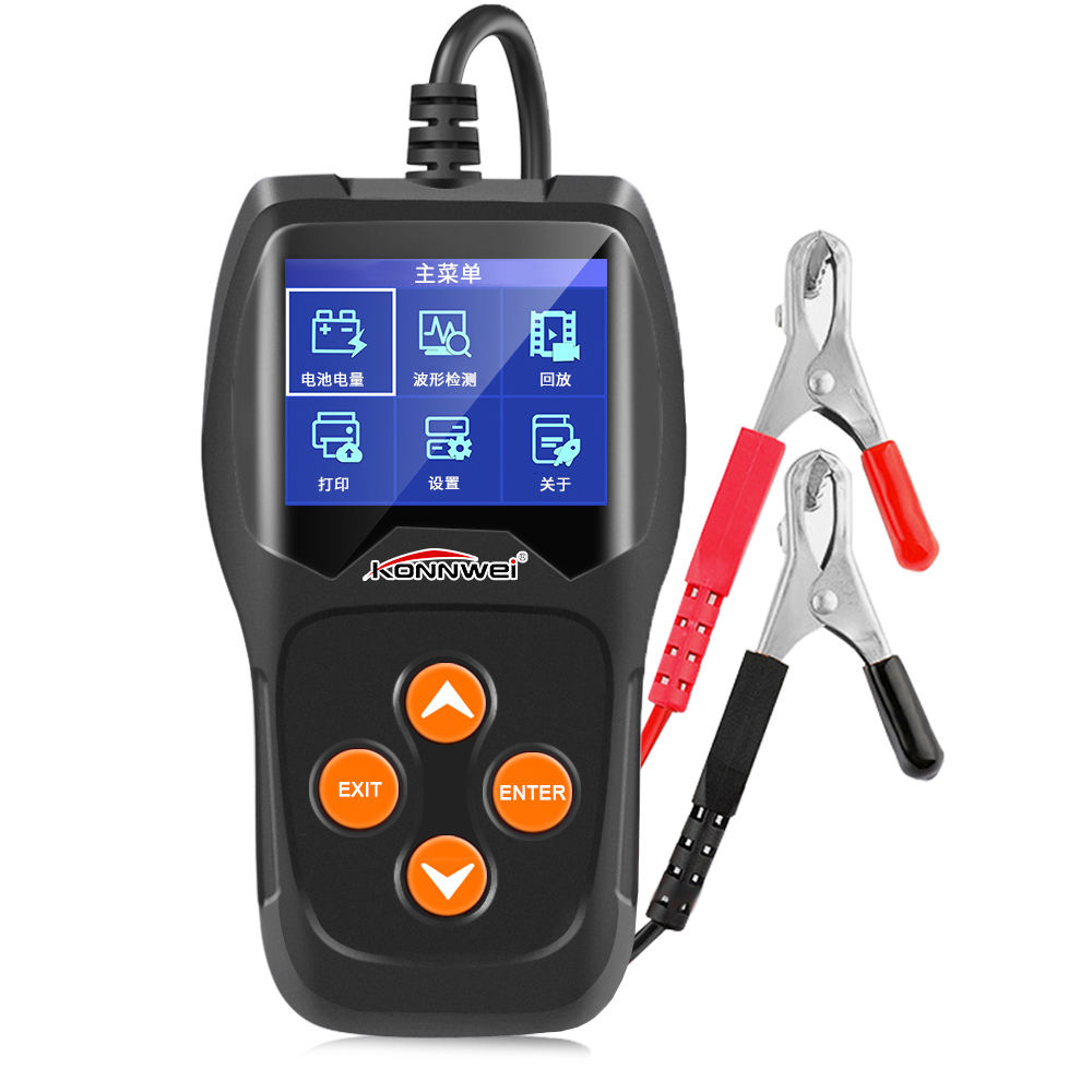 Hot selling newest car battery tester best selling KONNWEI KW600 support detect battery voltage with 11 languages