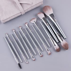 Hot Selling 14pcs Makeup Brushes Set Sliver Color Synthetic Hair Wood Handle Cosmetics Brushes Set With Leather PU Bag