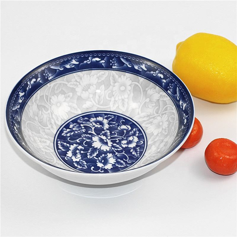 Round beautiful blue and white porcelain noodle bowls with decals ceramic pad printing soup bowl rice bowl