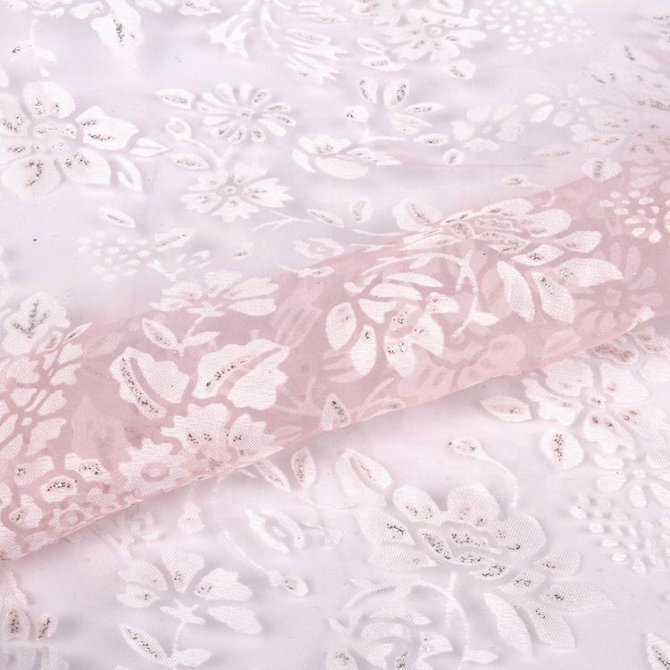 Stock viscose polyester china fabric textile sheer organza fabric flower organza