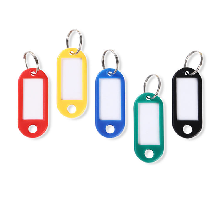 PE plastic key tag with key ring , assort color