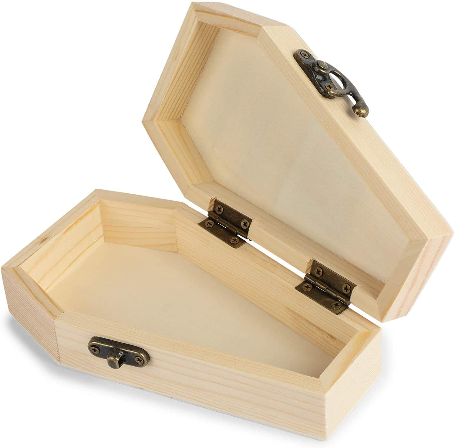 Unfinished Wood Coffin Box with Hinged Lids