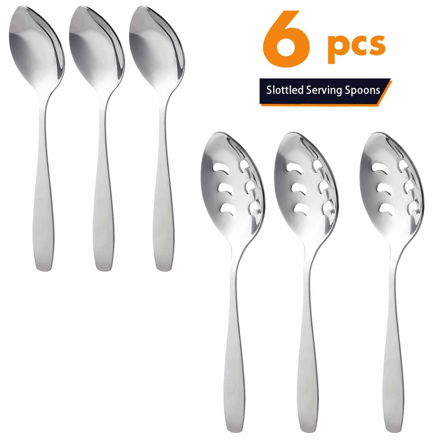 Mirror Polish Slotted Tongue Spoon Cater 6Pcs Flatware Sets Metal Buffet Serving Stainless Steel Spoon Set For Party Restaurant