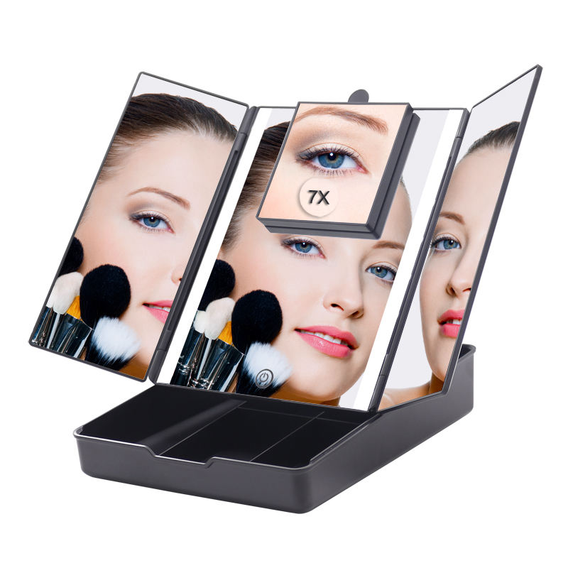 Beauty Products 1X/7X Magnifying Square LED illuminated Makeup Mirror Tray