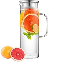 34OZ Heat Resistant Large Borosilicate Water Fruit Glass Filter Pitcher with Stainless Steel Lid