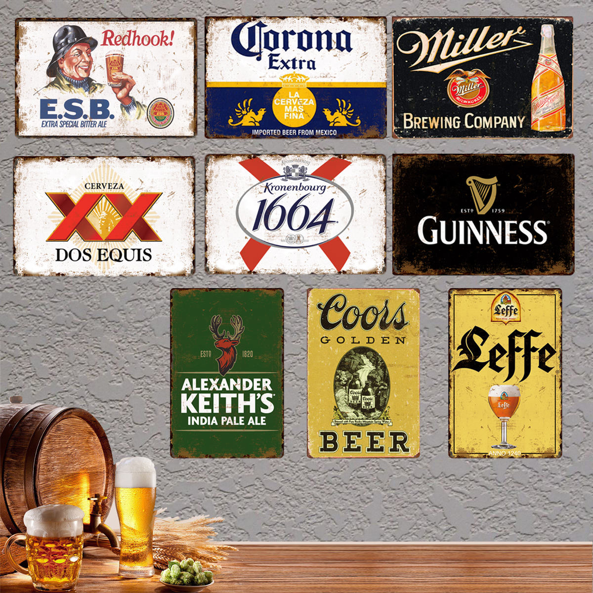 High quality vintage design printed metal beer tin sign for bar or home decoration wholesale retro Metal Bar hotel sign Plates