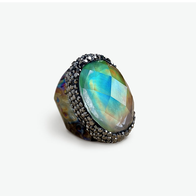 Green Ring Gunmetal Plated Adjustable Ring Rhinestone Glass Cabochon Ring