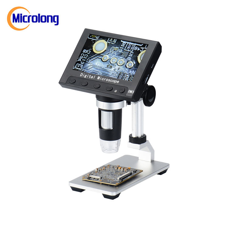 "With adjustable stand,camera and 8 LED 4.3"" 2MP HD LCD screen Digital Microscope"
