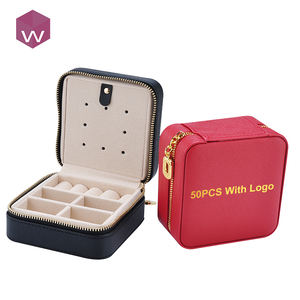 Custom Square Gift Necklace Packaging Case Travel Macaron Zipper Leather Jewelry Box