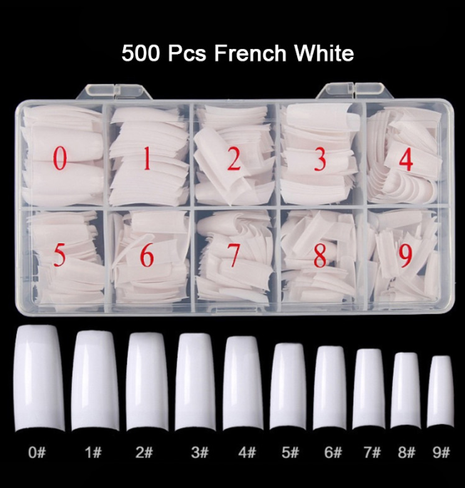 500pcs/ box French Tip False Acrylic Clear Full Cover Press on Nail Tips