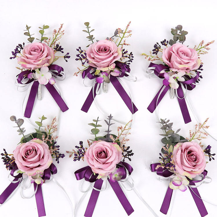 New Stylish Wedding Bride Boutonniere and Wrist Flower Artificial Flower Corsage