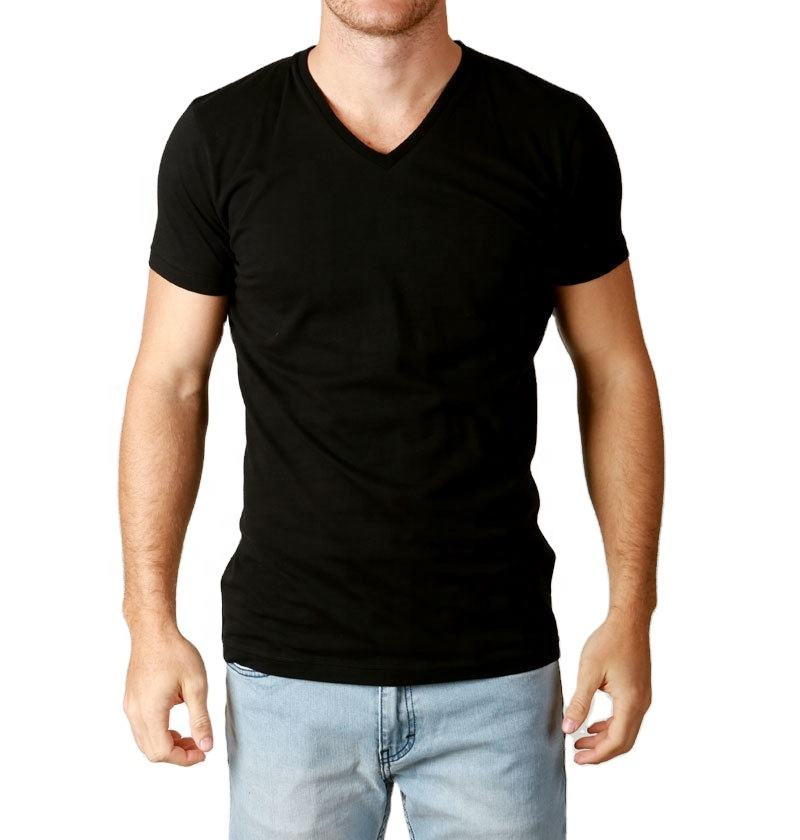 Casual V Neck T shirts Men Basic Blank Tshirt No Label