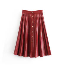 Wine red button decoration leather pleated skirts women long