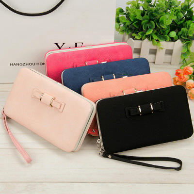 Wholesale New Design Stylish Lady low price pu leather zipper bow knot cell phone women wallet