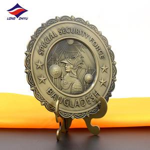 Antique Vintage French Ornate Plaqué Or Alliage Métal Porte Clé Écusson Plaque