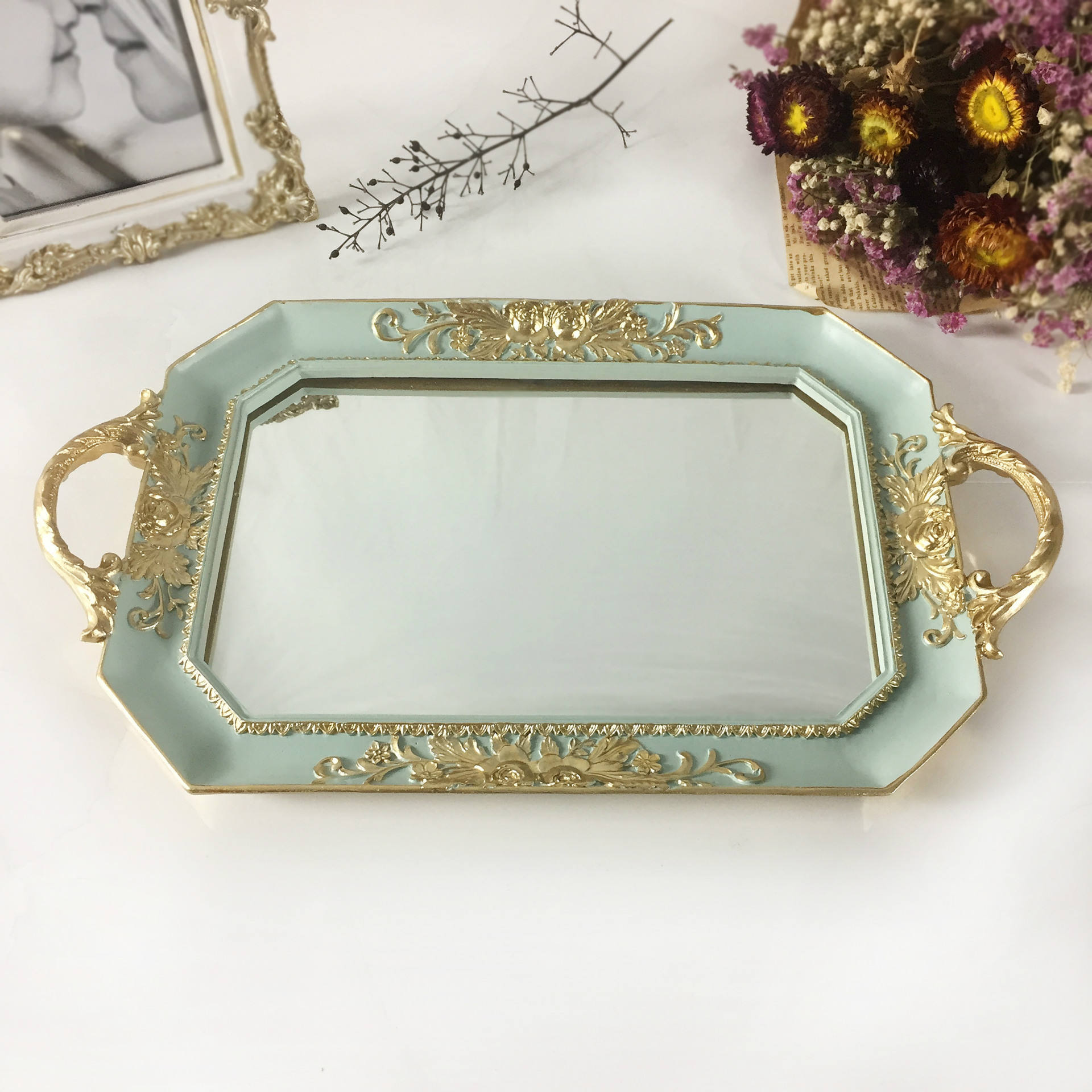 RTS Nordic European Style Plastic Resin Mirror Tray For Christmas Home Hotel Decor