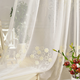 Hafei 3d flower embroidery tulle fabric window gauze