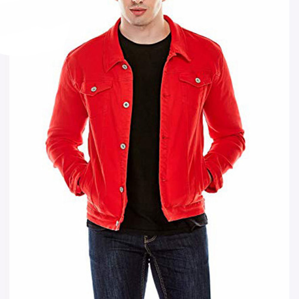 Custom men's slim fit red denim plain jean jackets for men