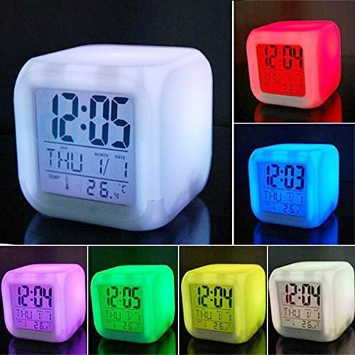 7 LED Colour Changing Digital Alarm Clock Thermometer Date Time Night Light/Creative Home Furnishing Alarm/Luminous Alarm Clock