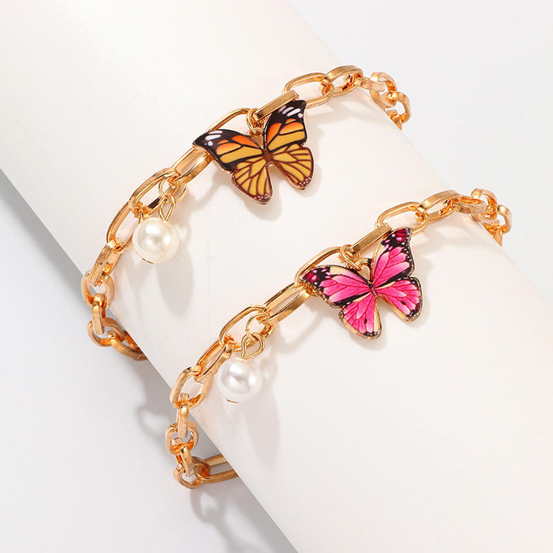 Artilady wholesale gold charm link chain butterfly anklet bracelet for girl friendship gift