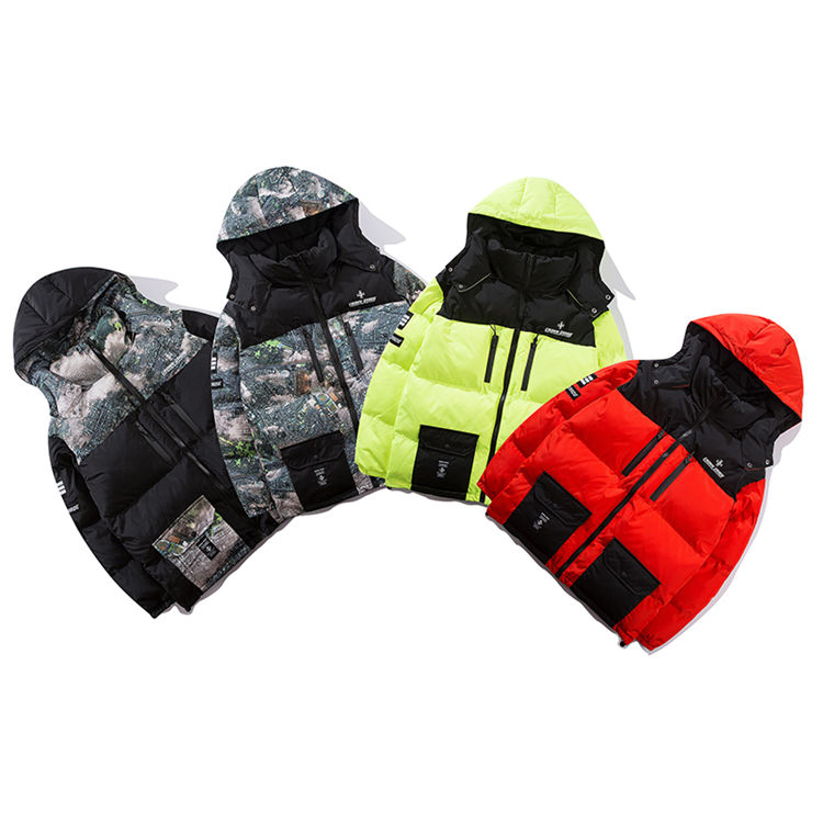 Free Shipping Printed Patchwork Thick Hooded Parka Streetwear Outerwear Coat Mens Jacket