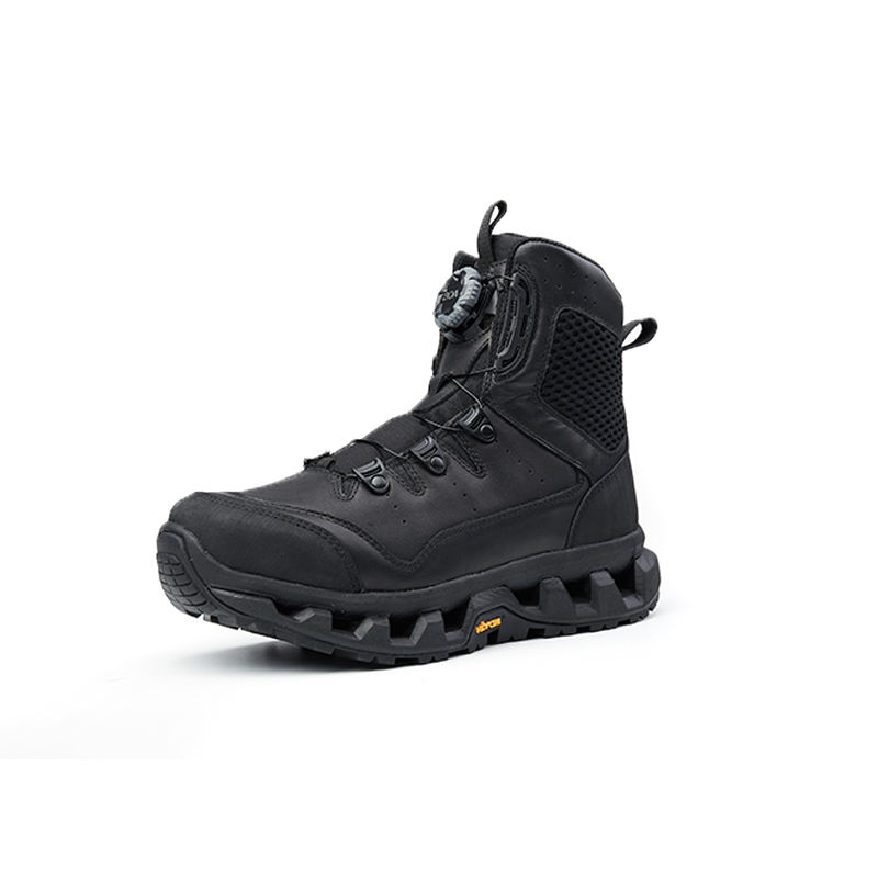 Fast Lacing BOA system officer leather police commander shoes for men super lightweight boots with V sole