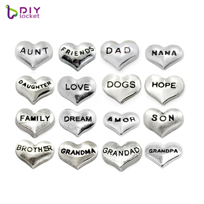 Wholesale Romantic Mix Style Silver Heart Floating Locket Heart Charms