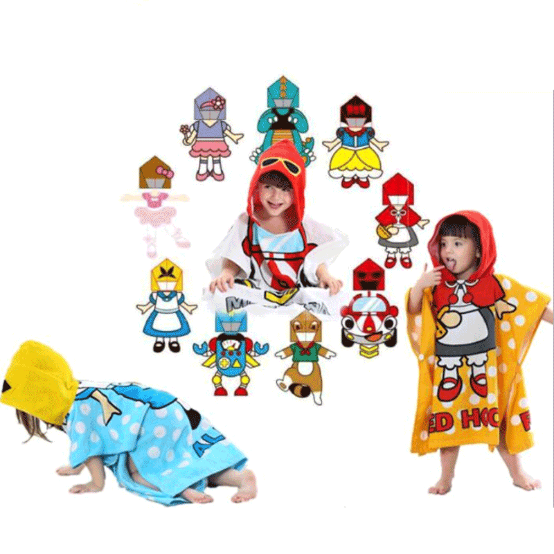 2020 New Arrival Wholesale Different Cartoon Character Baby Bathrobe Pure Cotton Bath Towel Robe For Kids