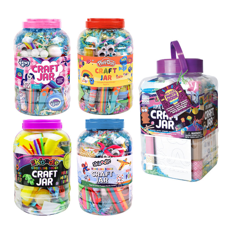 endless creativity and art colorful DIY craft toy jar set for little kids