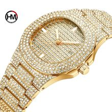 HANNAH MARTIN 510 Men's Ladies Crystal Quartz Watches Fashionable Bling Diamond Luxury Watch