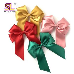 Pre made small satin self adhesive ribbon bow for gift packing decoration