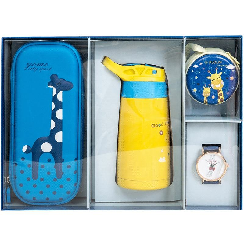 Hot sale Giraffe theme school holiday boy gift set kids birthday gift set stationery box watch flask coin purse gift for boys