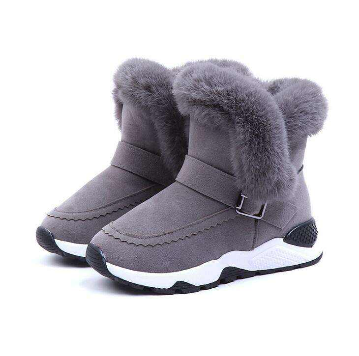 LANXI Girls Bling Rhinestone Low-Heel Princess Boots Warm Cotton Shoes