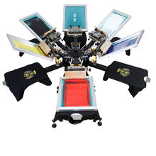 Automatic/manual 6 color 6 station double rotary screen printer for garment tag/label screen printing