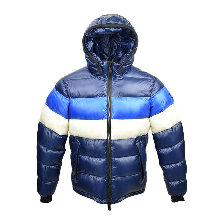 Fashion Blue White Striped Down Jacket Winter Wear Mens Clothing Short Style Outdoor Sport Puffer Down Jacket With Hood